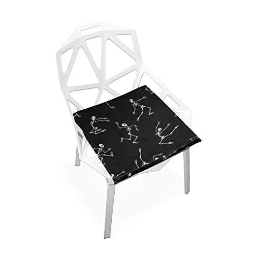 d Weisetanz-Skelett-Gewohnheits-weiche Rutschfeste quadratische Gedächtnisschaum-Stuhl-Auflagen-Kissen-Sitz für Hauptküche Esszimmer Büro-Schreibtisch-Möbel Innen 16x16 Zoll ()