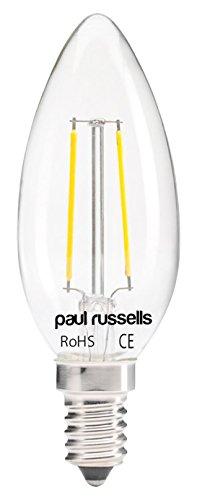 Paul Russel 6x Vintage Style Kleine Edison-Schraube LED Filament klar Leuchtmittel 2W antik Candle Light Dekorieren Home C35Kronleuchter 360Abstrahlwinkel Lampe E14SES 2700K warm weiß