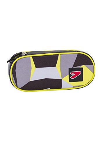 Estuche escolar ROUND PLUS – SEVEN The Double – CUBE – amarillo gris – con solapa interior equipada nuevo!