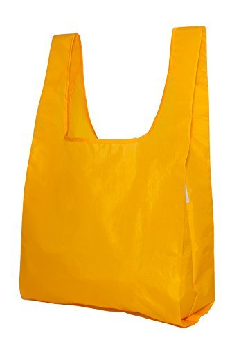 reusable-grocery-shopping-bag-totes-foldable-with-pouch-100-ripstop-nylon-by-de-bagg-yellow-x4-by-de