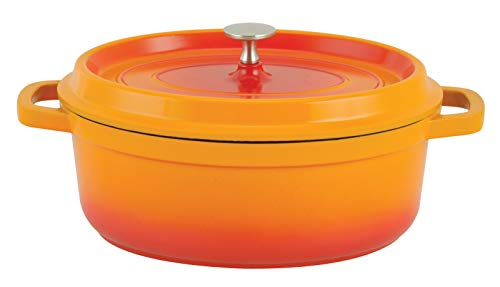 Paderno World Cuisine A1760031 Cast Aluminum Oval Dutch Oven, 6.63QTS, Orange