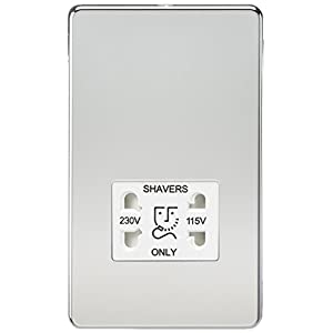 Knightsbridge SF8900PCW Screwless Dual Voltage Shaver Socket, 230 V, Polished Chrome with White Insert