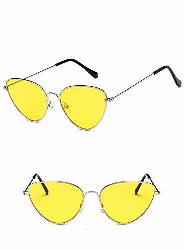 GONGFF Metall Cat Eye Sonnenbrille Persönlichkeit Ocean Sonnenbrille Trendy Sonnenbrille