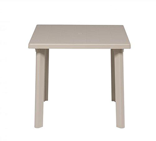 Ideapiu Table carré pour extérieur, Table résine 80 x 80 Taupe, Table pour Jardin