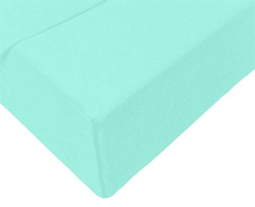 Double Jersey - Spannbettlaken 100% Baumwolle Jersey-Stretch bettlaken, Ultra Weich und Bügelfrei mit bis zu 30cm Stehghöhe, 160x200x30 Aqua - 4