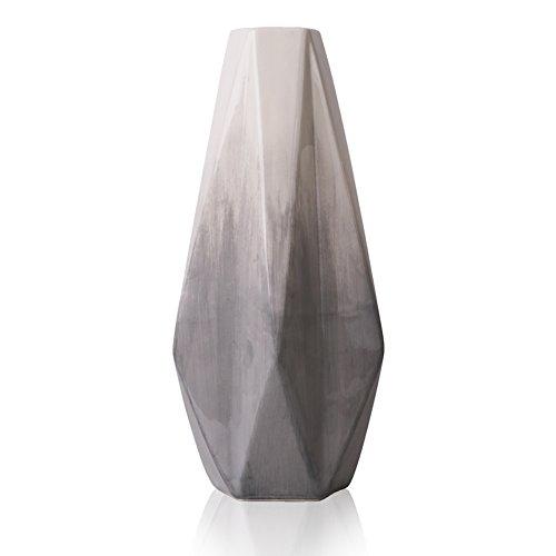 Hannah\'s cottage Outdoor Paradise Geometrie Grau Vase Moderne Keramik Vase Weiß Kleine Vase Blumenvase Tischvase Moderne Wohnzimmer Deko Keramikvasenset Höhe 28cm Ø 12cm(grau& weiß)