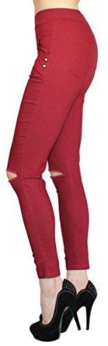 Damen Hose High Waist Damen Stoffhose Risse am Knie Stretch Hose in 6 Farben - JL031 Weinrot