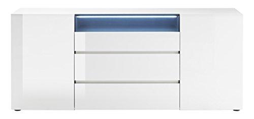 Robas Lund, Sideboard, Kommode,  Vicenza, Hochglanz/weiß, beleuchtbar, 185 x 43 x 79 cm, 48844WH9