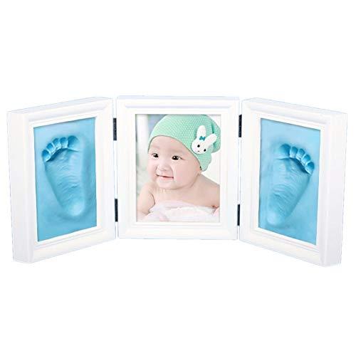 JZK Weiß Baby Handabdruck Fußabdruck Foto Rahmen Set, EN71 Spielzeug Test übergeben ungiftig Kind sicher, Geschenk für Mädchen Junge Babyparty Babyshower Taufe (blau Ton)
