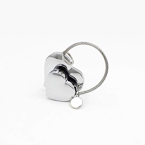 dfhdfsg Exquisite Anhänger Zubehör Kleines Geschenk Legierung Metall Doppel Herz Keychain Männer Und Frauen Chrom