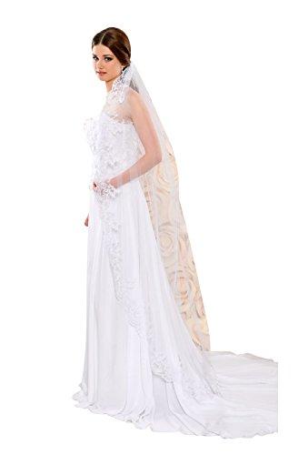 Braut Schleier aus Tuell und Spitzenrand - 170 cm lang - S102 (ivory/champagner)