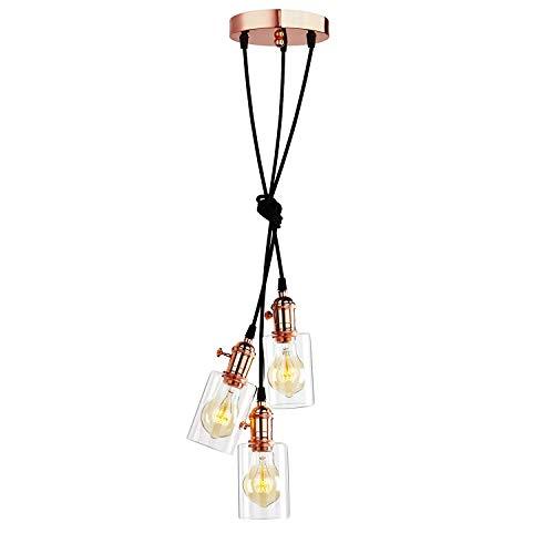 Drei Licht-insel Kronleuchter (1949shop Vintage Edison 3 Lichter hängende Lichter passend, Kupfer DREI Deckenleuchte Kronleuchter für Insel Wohnzimmer Esszimmer Schlafzimmer Büro)