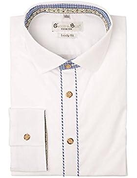 G'weih & Silk Herren Trachtenhemd Langarm Weiß Blau Konrad 002185