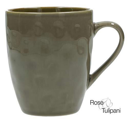 Rose e Tulipani Concerto Grigio Vintage Becher im Landhausstil 430ml Kaffeetasse italienisch Steinzeug Tasse Kaffeebecher