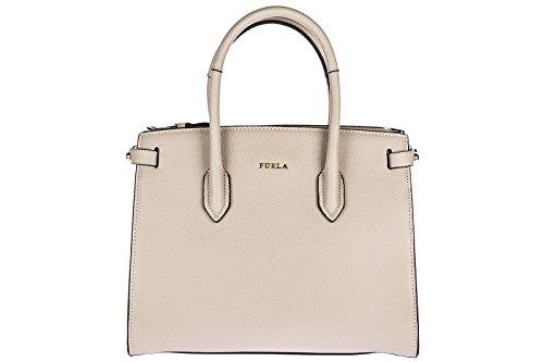 Furla Leder Handtasche Damen Tasche Bag beige (Furla Leder Tasche)