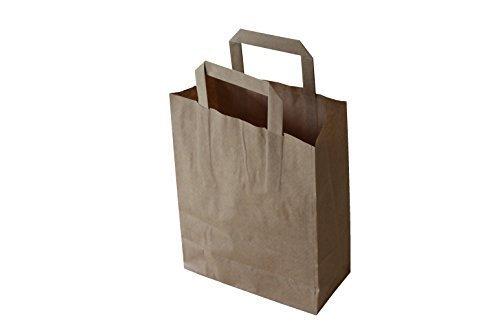 """Preisvergleich Produktbild Papiertragetaschen mit Flachhenkel """"BRAUN"""" (32 + 12 x 40 cm, 50 Stück)"""