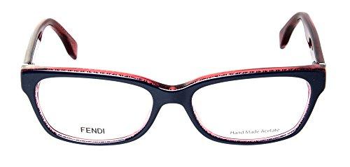 Fendi Montures de lunettes 0004 Signature Micrologo Pour Femme Black / Crystal, 53mm 7PP: Blue / Red