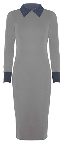 Neuer Frauen Bubikragen Langfigurbetontes Midikleid 36-50 Grey