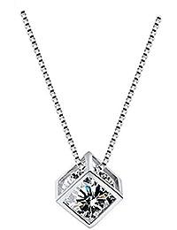 KOMO Les Femmes S925 Collier Cristal Zircon Argent Simple et Court, Chaîne clavicule Bijoux Pendentif Cadeau de l'amour.