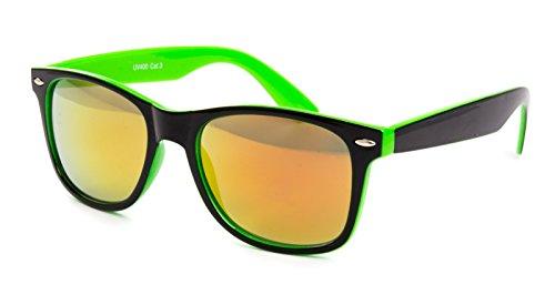 Ciffre Nerdbrille Sonnenbrille Nerd Atzen - Neon Grün Schwarz Farbverlauf Feuer Brille