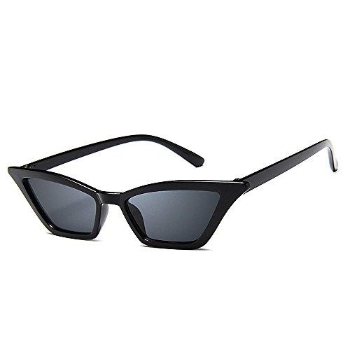 Sonnenbrillen Mode Frauen Sonnenbrillen Persönlichkeit Dame Cat Eyes Kleine Sonnenbrillen Klarer Rahmen Sonnenbrille Cooler UV-Schutz für Frauen Bunte Linse Fahren Sonnenbrille ( Farbe : Schwarz )