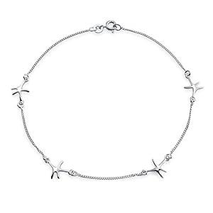 Bling Jewelry Sterling Silber Seestern Fußkettchen nautische Armband 9 in