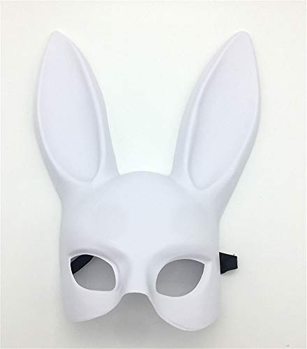 Kaninchen Streich Kostüm - DUDUCHUN Frauen Maskerade Maske Kaninchen Augenmaske mit Ohren Bunny Maske für Halloween Party Kostüm Cosplay Dressing Up Requisiten Ball Ostern Karneval,Weiß