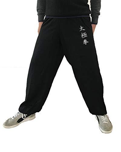 TAO Sportswear Tai Chi Chuan Hose für Damen und Herren Kampfsporthose leicht und geschmeidig (Größe XL, Schwarz)