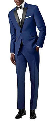 Suit me classiche da uomo abito 3 tuta 1 button gilet giacca smoking nozze giacca pantaloni blu s