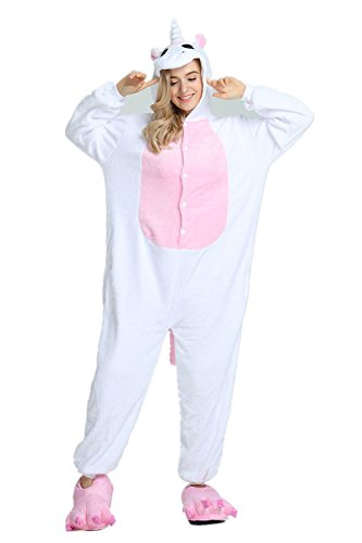 io pijamas para Unisex Cosplay Costume Onesie adulto Anime Cartoon Party Halloween pijamas (M, Rosado-ala) (Cremallera De Halloween)