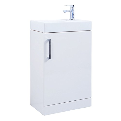 Liberty 550 High Gloss White Cloakroom Bathroom Vanity Basin Sink Cabinet Unit