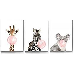 La Vie 3 Teilig Wandbild mit Rahmen Süße Zebra Giraffe Koala mit Kaugummi Ölbild Leinwanddrucke Bilder Gemälde Moderne Kunstdruck für Zuhause Wohnzimmer Schlafzimmer Kinderzimmer