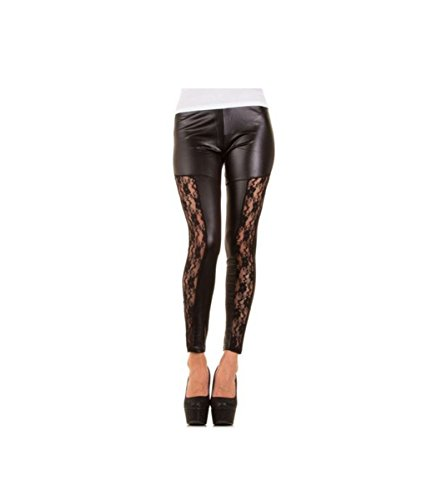 Sexy Leder Imitat Look Leggings mit Spitze Gogo Style Wet Look Glänzend Hot Blickdicht (38-40)