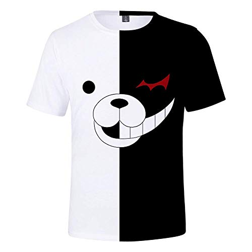 XH 3D Jungen Und Mädchen T-Shirt Danganronpa Monokuma T-Shirt Cartoon Schwarz-Weiß-Bär Rollenspiel Kostüm Kinder T-Shirt Weihnachten (Größe: 110-160) (Schwarze Bären Kostüm)