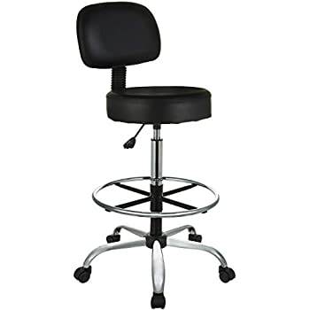 AmazonBasics Height Adjustable Office/Bar/Kitchen Stool with Back Cushion and Adjustable Foot Rest, Black