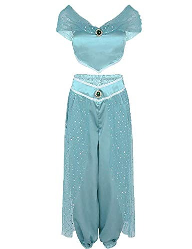 Kostüm Frauen Jasmin - Mädchen Aladdin Jasmin Prinzessin Cosplay Outfit Frauen Mädchen Fancy Ankleiden Party Kostüm Sets (Hellblau, M)