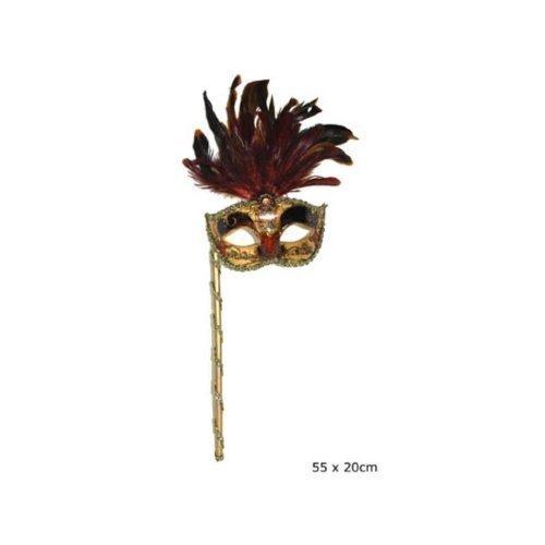 Preisvergleich Produktbild detailreiche Venezianermaske am Stab mit Federn