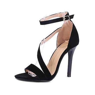 LvYuan Da donna-Sandali-Formale Casual Serata e festa-Altro-A stiletto-Felpato-Nero Rosso Black