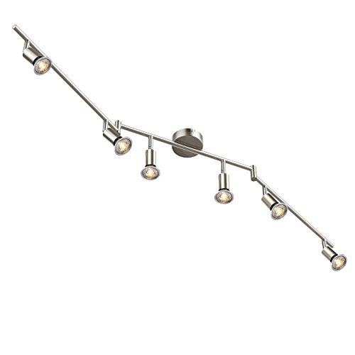 Ascher LED Deckenleuchte Schwenkbar ( Inkl. 6 x 5W GU10 COB LED Lampe, 450LM, Warmweiß), LED Deckenlampe LED Deckenstrahler LED Deckenspot