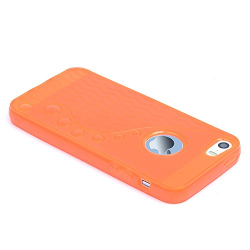 Apple iPhone 5S/5 – Silikon Gel Polka Dots TPU Spannbettlaken Schutzhülle inklusive Displayschutzfolie & Stylus Touch Pen von Madcase Waves S Line - Orange