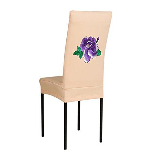 Floral Motif Kaki Housse de chaise élastique Housse Protection d'écran fourni avec élastique/Housses de chaise siège amovible lavable pour hôtel, restaurant, mariage, partie Decor/maison, fête,cuisine, salle à manger Housse de chaise fourni par Reaso (10)