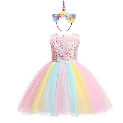 Costume da Unicorno Arcobaleno Vestito Elegante da Fiore Ragazza Tutu Floreale  Principessa Festa Cerimonia Carnevale Compleanno 2fe9d521de7