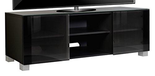 VCM TV Lowboard Schrank Tisch Rack Fernseh Fernsehtisch Konsole Möbel schwarzlack / schwarzglas 50x150x 45 cm