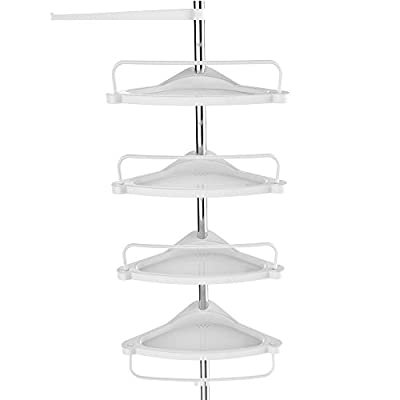 Songmics 120-300 cm 4 Tier Adjustable Telescopic Shower Corner Bathroom Shelf Rack - Stainless Steel Clad Pipe BCB002 produced by Songmics - quick delivery from UK.