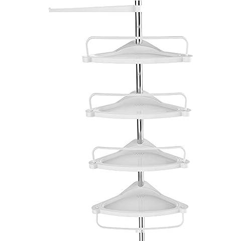 Songmics 120–300cm 4niveles telescópica ajustable ducha esquina baño estante Rack–Acero inoxidable con revestimiento de tubo