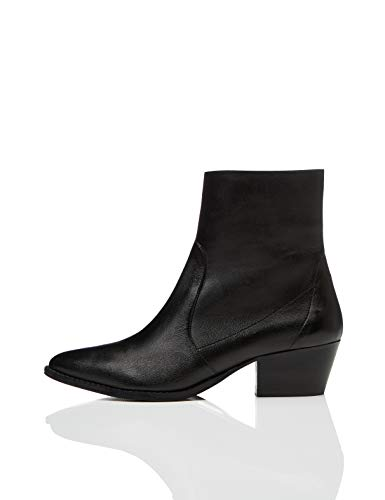 Find. Unlined Western Leather Botas Mocasines, Negro Black, 39 EU