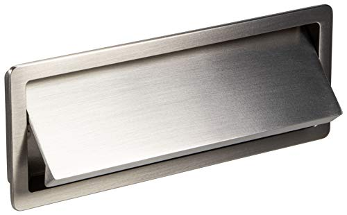 Gedotec Klappgriff Design Muschelgriff versenkt Schubladengriff eckig - SINDY | Griff-Schale 154 x 56 mm | Einlassgriff Metall silber matt | Griffmuschel zum Einlassen | 1 Stück - Möbelgriff Küche