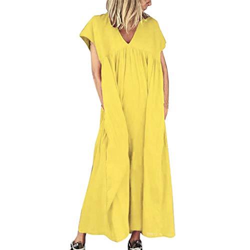 Amcool Damen Leinen Baumwolle Kleid Beiläufige Kurzarm Einfarbig Lose Maxikleider Rundhalsausschnitt Lang A-Linie Swing Blusenkleid Hemdkleid mit Taschen