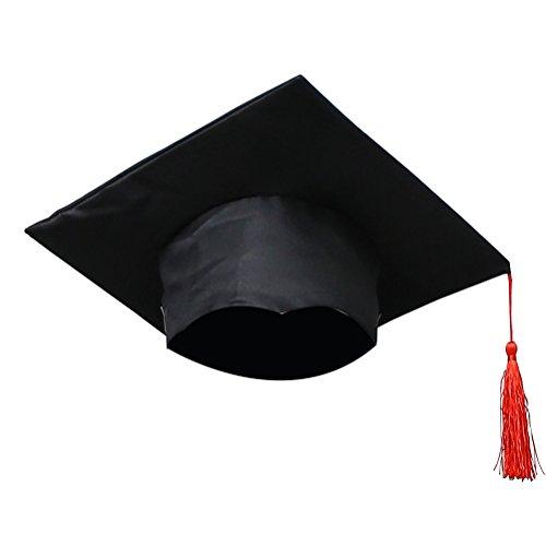Graduation Kleid Rot (Tinksky Kinder Graduation Cap mit Quaste Kinder Grad Caps Graduation Kostüm Zubehör Abschluss Party Favor Supplies)
