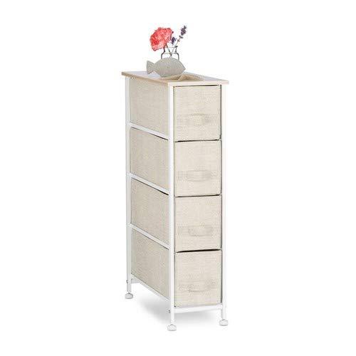 Relaxdays Regalsystem, 4 Stoff-Schubladen, universale Schubladenbox, Metall und Holz, HxBxT: 76 x 20 x 48 cm, beige